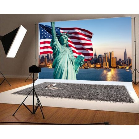 MOHome Polyster 7x5ft Backdrop Photography Background American Flag Statue of Liberty New York City Scene Children Kids Adults Portraits Backdrop Photo Studio - City Scene Backdrop