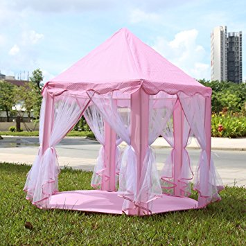 KidsTime Play Tent Princess Castle Fairy Tale Tent Fun Indoor Outdoor Playhouse Toy(Light Pink)