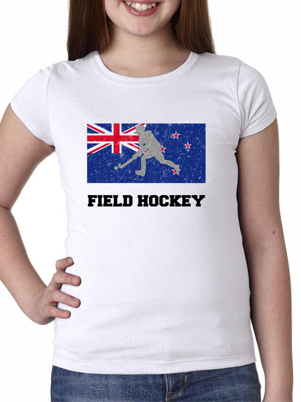 New Zealand Olympic Field Hockey Flag Silhouette Girl's Cotton Youth T-Shirt by Hollywood Thread