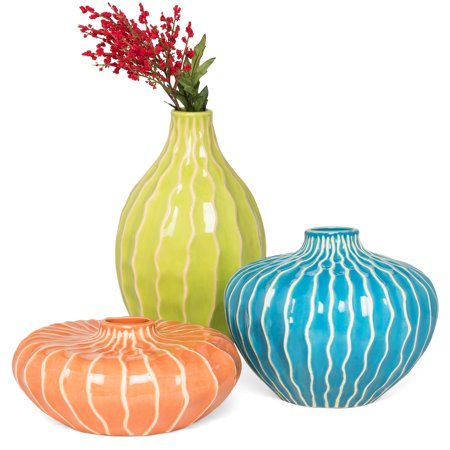 Best Choice Products Set of 3 Home Decorative Ceramic Accent Vases for Living Room, Bedroom, Dining Room, Office, Indoor/Outdoor Events w/ Assorted Sizes, Stain-Resistant Finish - Blue, Green, Orange