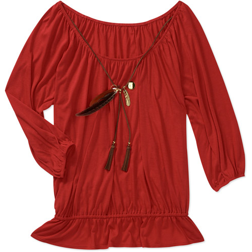 Miss Tina Women's Peasant Top with Feather Necklace