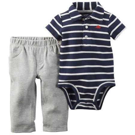 Carters Blue Pants (Carters Infant Boys 2-Piece Navy Blue Striped Polo Bodysuit & Pant)