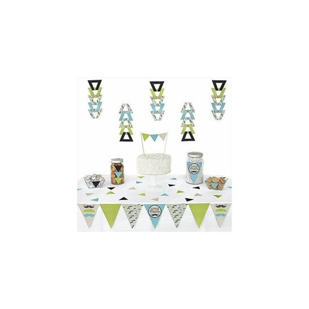 dashing little man mustache party - triangle bLy shower or birthday party decoration kit - 72 pieces (Little Man Baby Shower Decorations)