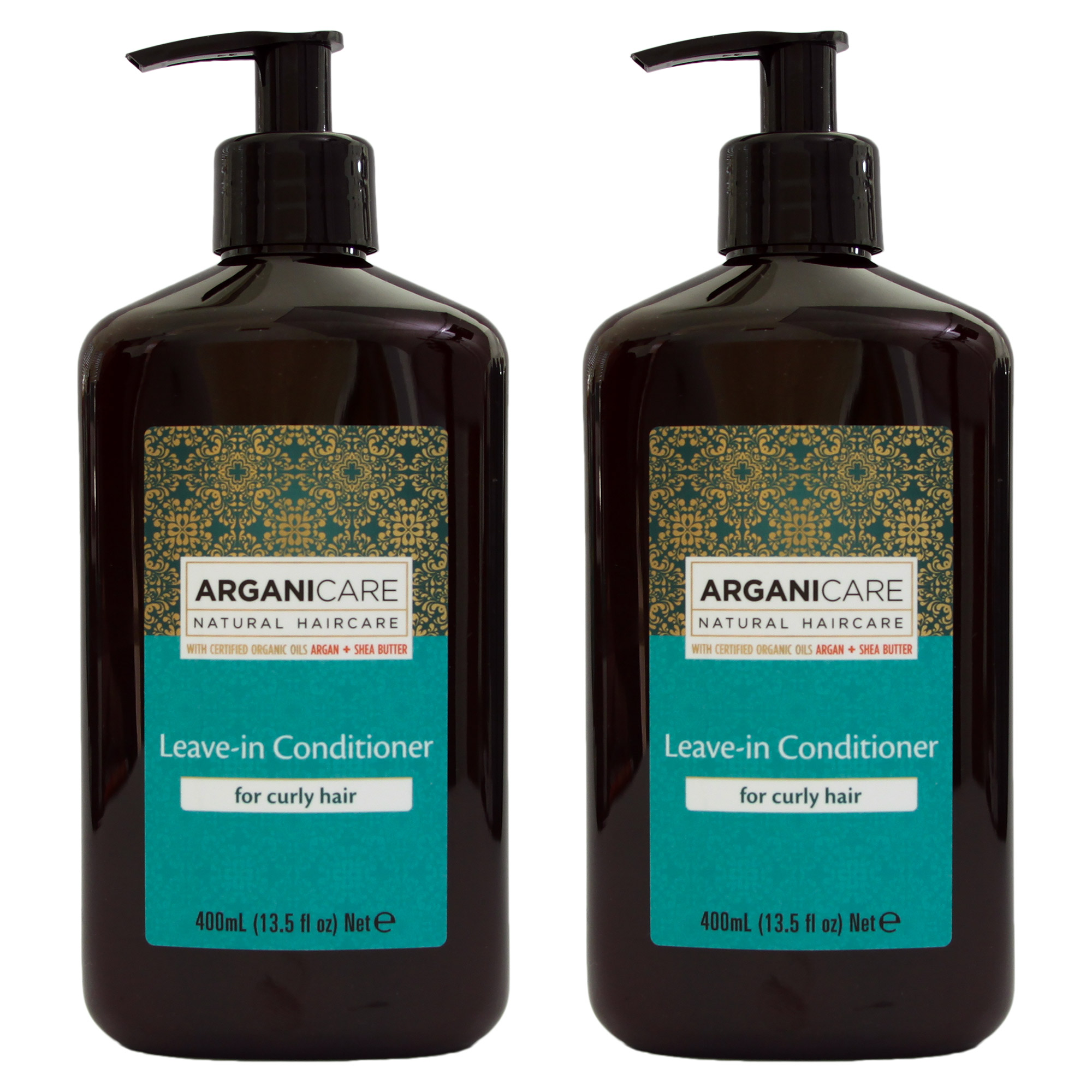 Arganicare Leave in Conditioner for Curly Hair Enriched with Organic Argan Oil. 13.5 fl. Oz. 2 Pack Bundle