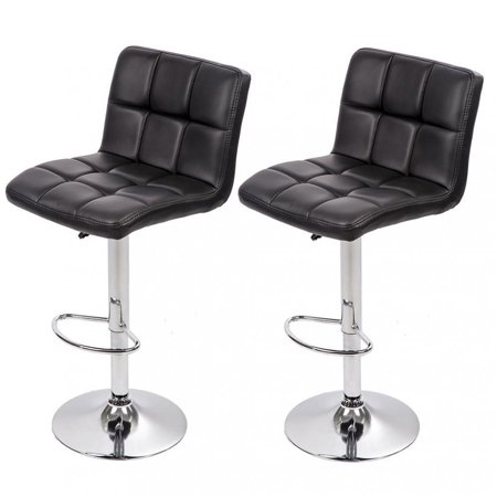 Set Of 2 PU Leather Adjustable Bar Stool Counter Height Chair With (Bari Leather)