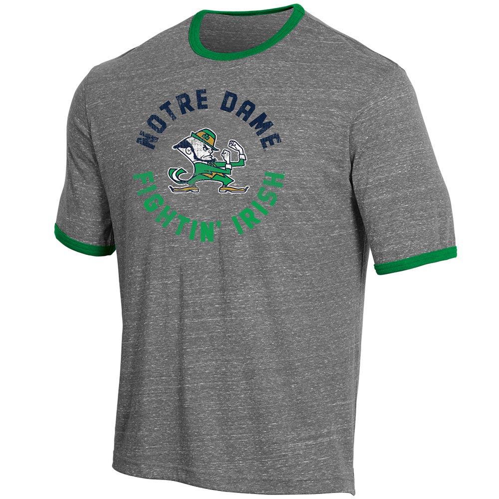 Men's Russell Heathered Gray Notre Dame Fighting Irish Athletic Fit Crew Neck Tri-Blend T-Shirt