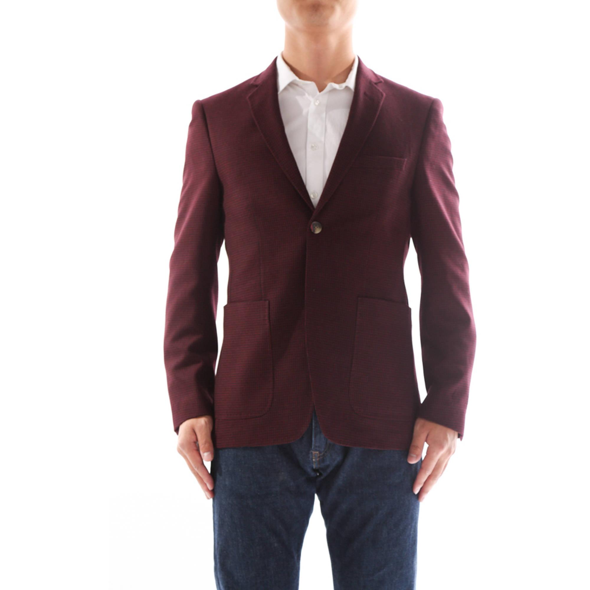 Verno Armati Men's Burgandy Slim Fit Italian Styled Wool Blazer