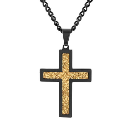 Believe by Brilliance Men's Stainless Steel Gold Carbon Fiber Inlay Two-Tone Cross Pendant Necklace