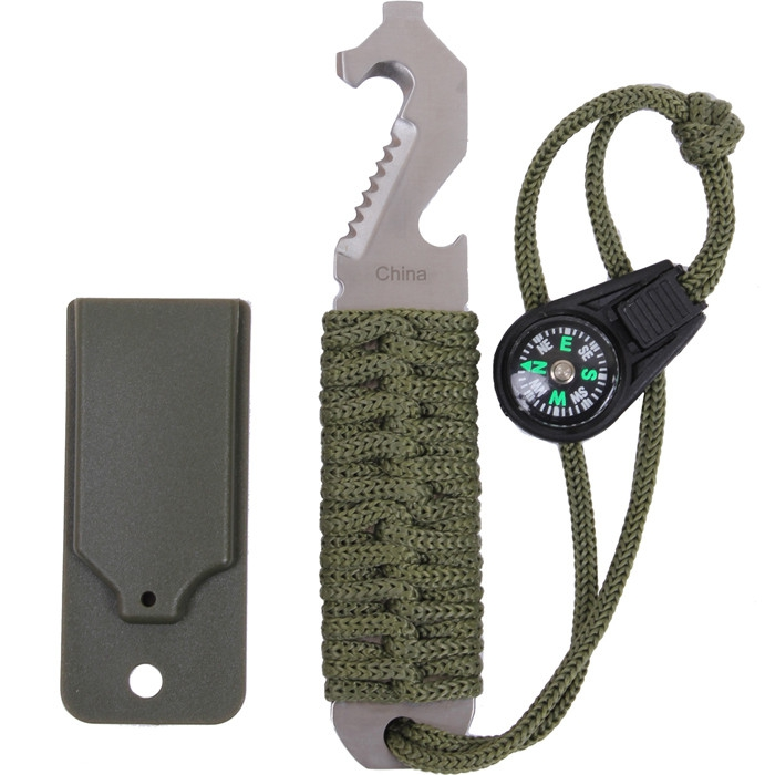 Olive Drab Paracord Survival Pry Tool by