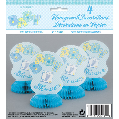 Blue Stitching Baby Shower Mini Honeycomb Decorations, 4pk