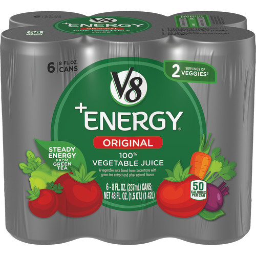 V8 +Energy, Juice Drink with Green Tea, 100% Vegetable , 8 oz. Can (Pack of 6)