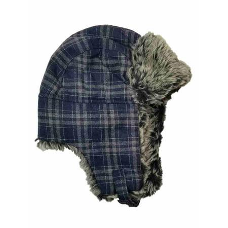 Men's Blue Grey Plaid Fur Trimmed Peruvian Trapper Beanie Stocking Cap Hat - Stocking Hats