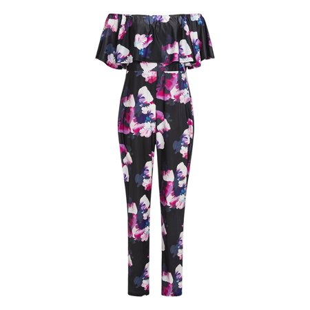 05cf6b154cb Redcolourful - Women s Floral Off Shoulder High Waisted Plus Size Jumpsuits  Rompers - Walmart.com