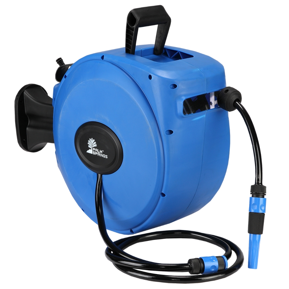 Palm Springs 65ft Wall Mounted Garden Hose Reel   Full Swivel And Quick  Auto Retract