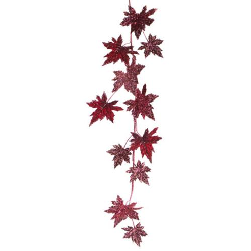 """Pack of 4 Thanksgiving Fall Harvest Artificial Burgundy Maple Leaf Garlands 56"""""""