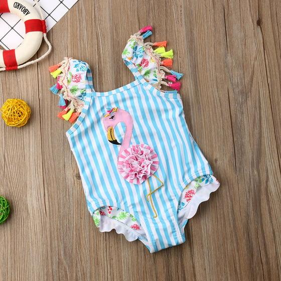 76a514b53a Gaono - Toddler Baby Kid Girls Stripes Flamingo Bikini One Piece ...