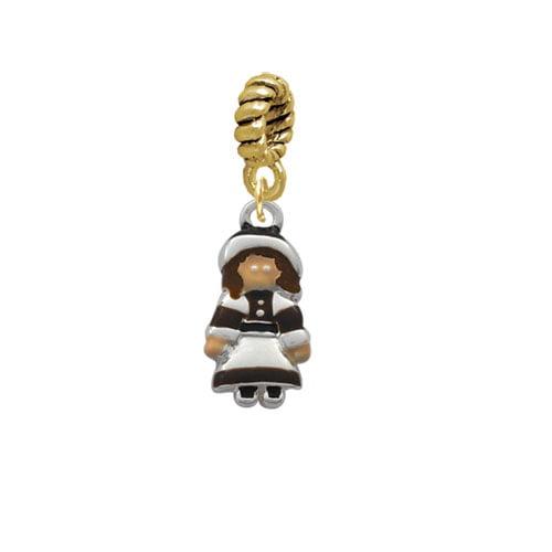 Silvertone Pilgrim Girl - Goldtone Charm Bead