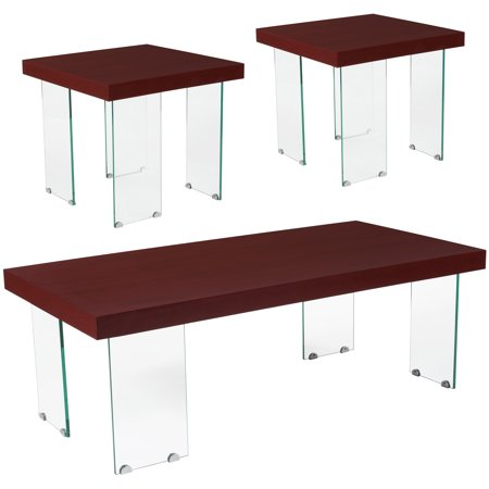 5 Piece Cherry Finish Wood - Forest Hills Collection Flash Furniture 3 Piece Coffee and End Table Set in Red Cherry Wood Grain Finish and Glass Legs