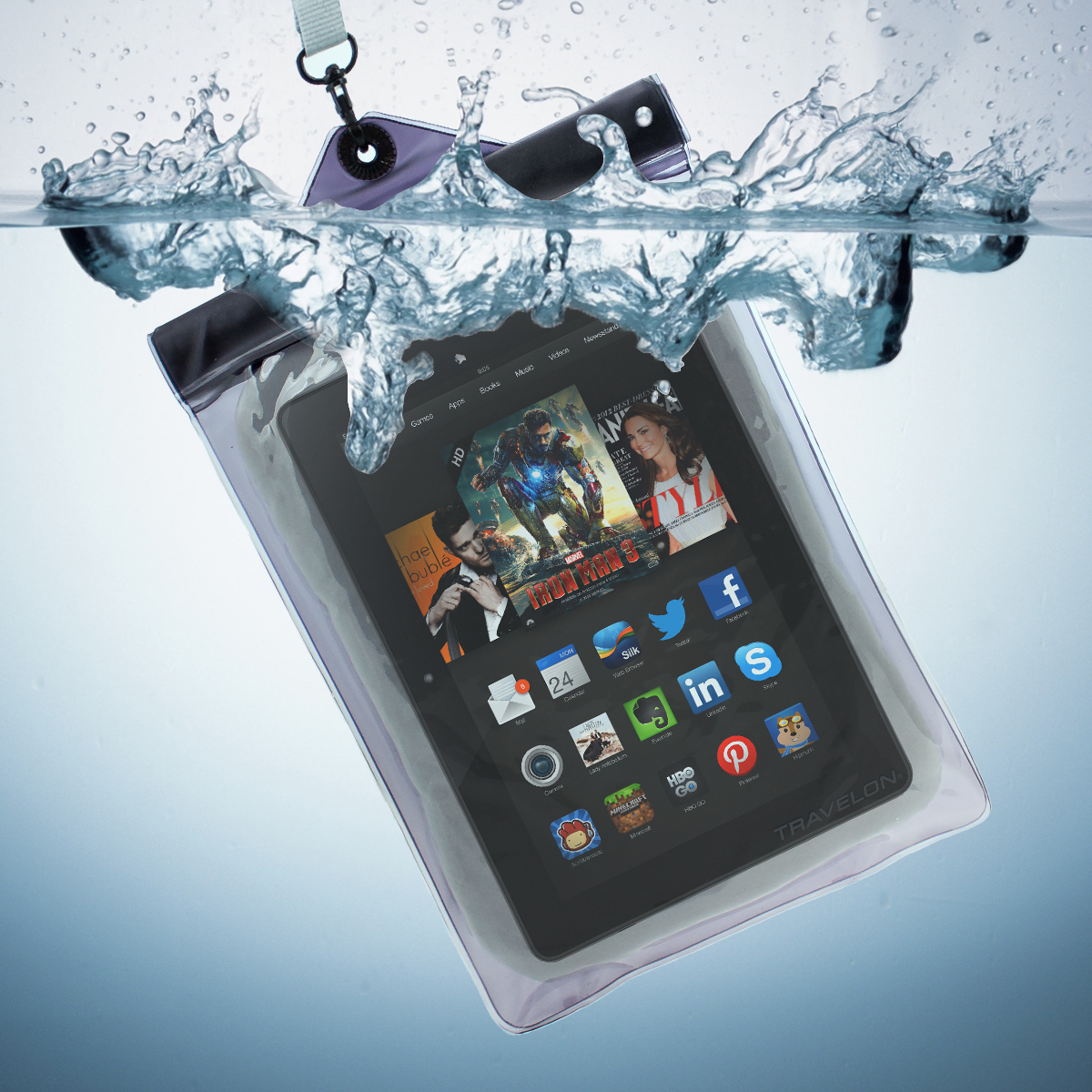 Travelon Waterproof Floating Pouch Small Tablet e-Reader IPX8 20m Case Bag