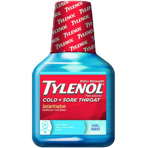 TYLENOL Sore Throat Liquid Daytime Cool Burst 8 oz (Pack of 2)