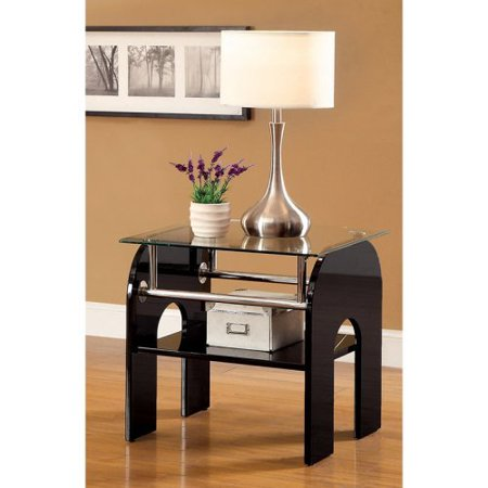 Furniture of America Riona Tempered Glass Curved End Table -
