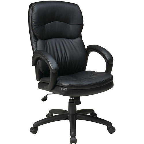 Office Star Worksmart High-Back Leather Executive Chair, Black