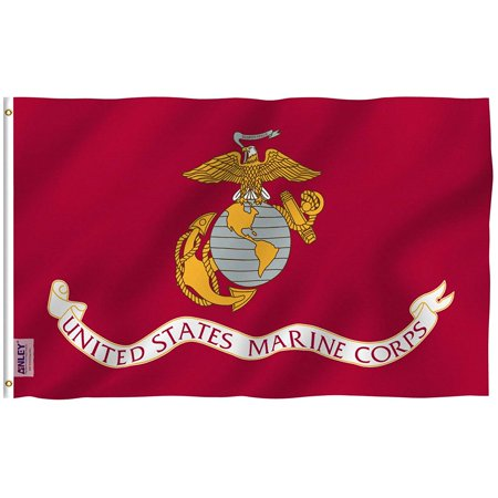 ANLEY Fly Breeze 3x5 Foot US Marine Corps Flag - Vivid Color and UV Fade Resistant - Canvas Header and Double Stitched - United States Military Flags Polyester with Brass Grommets 3 X 5 Ft Illinois State Polyester Flag