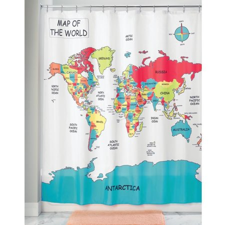 InterDesign World Map Fabric Polyester Shower Curtain, 72