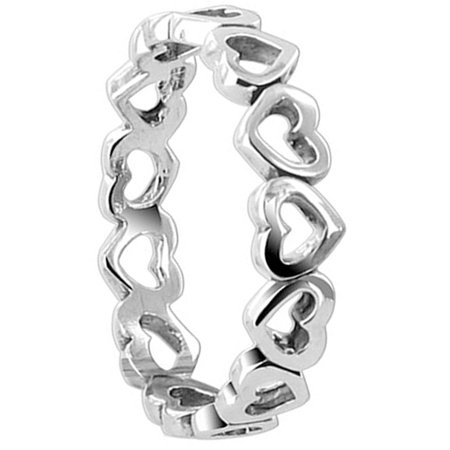 Gem Avenue 925 Sterling Silver Tiny Open Hearts Eternity Band,4mm