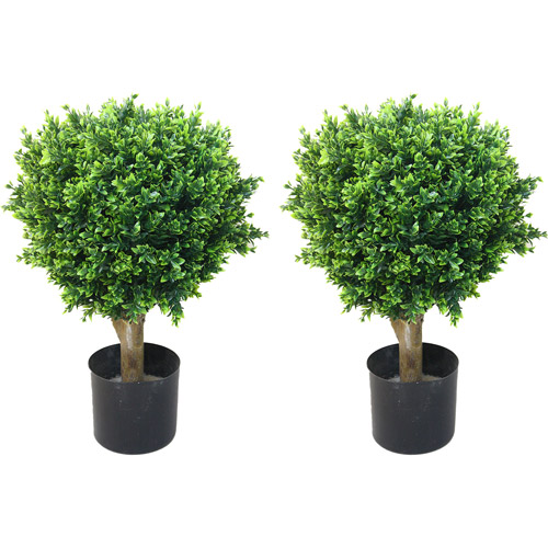 Artificial Hedyotis Tree -Large Faux Potted Topiary Plant – UV Resistant Indoor Outdoor Décor for Home or Office by Pure Garden (Set of 2)