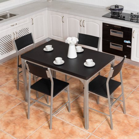 Costway 5 piece dining table and chairs set wood metal for Wood and metal kitchen table