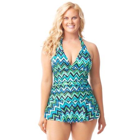 Sea & Sand Beachwear Halter Skirted Swimdress Bathing Suit