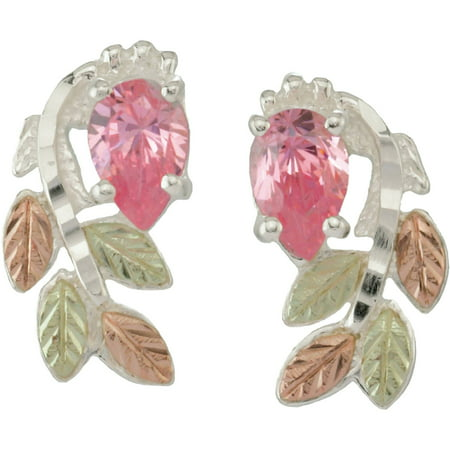 Black Hills Gold Pear-Shaped Pink CZ Sterling Silver 12kt Gold Leaf Accented Earrings