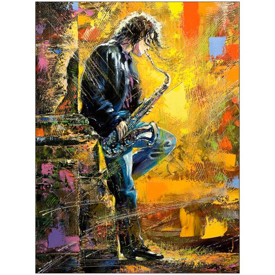 A Young Man Playing a Saxophone Art by Eazl - Walmart.com