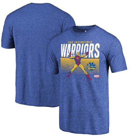 Golden State Warriors Fanatics Branded Marvel Iron Man Invincible Tri-Blend T-Shirt - Heathered Royal - Male Warrior
