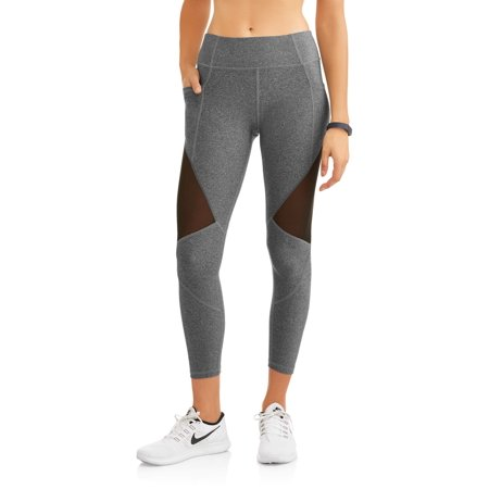 N.Y.L. Sport Women's Active Mesh Insert Performance Legging with Media Pocket
