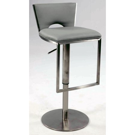 0516 Bella Vita Low Back Upholstered Pneumatic Gas Lift Adjustable Height Stool in Grey