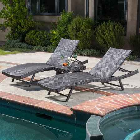 3 Piece Leather Chaise - Kauai Wicker 3 Piece Chaise Lounge Set