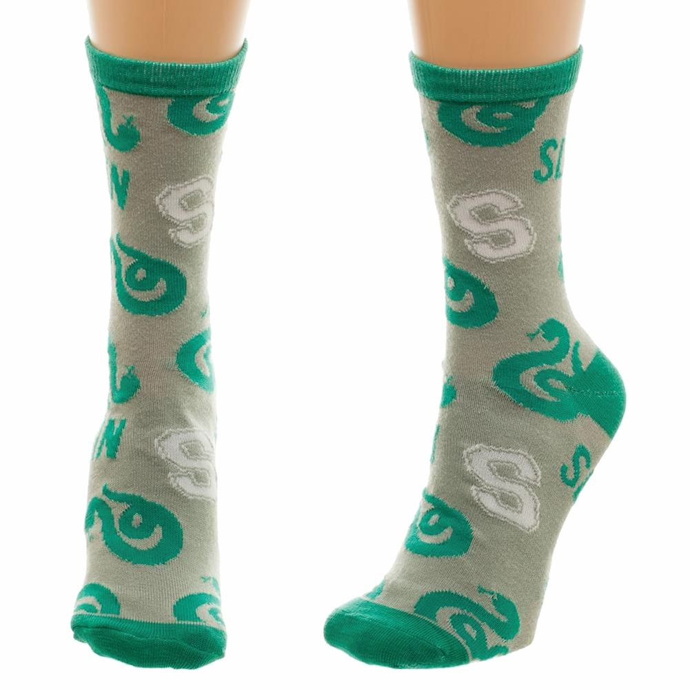 Women's Harry Potter Slytherin Pattern Green Knit Crew Socks