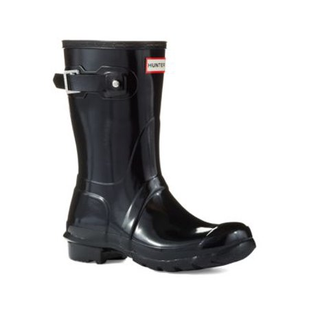 Hunter Women's Original Short Gloss Black Mid-Calf Rubber Rain Boot - (Hunter Original Tall Rain Boot Wide Calf)