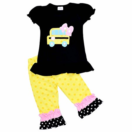 Unique Baby Girls Back to School Bus Shirt Boutique Outfit (6/XL, Black)](Girls Back To School)