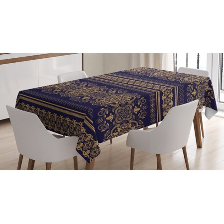 Rectangular Amber Ring - Turkish Pattern Tablecloth, Damask Style Medieval Flowers with Rich Details Horizontal Borders, Rectangular Table Cover for Dining Room Kitchen, 60 X 90 Inches, Indigo Pale Amber, by Ambesonne