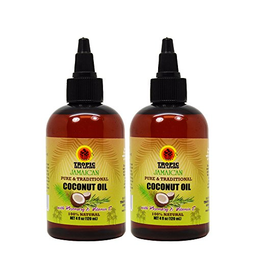 "Tropic Isle Living Jamaican Coconut Oil with Rosemary and Vitamin E 4oz ""Pack of 2"""