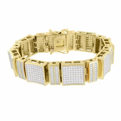 Lab Created Cubic Zirconias Mens Bracelet Stainless Steel Micro Pave Gold Finish 18 MM Designer