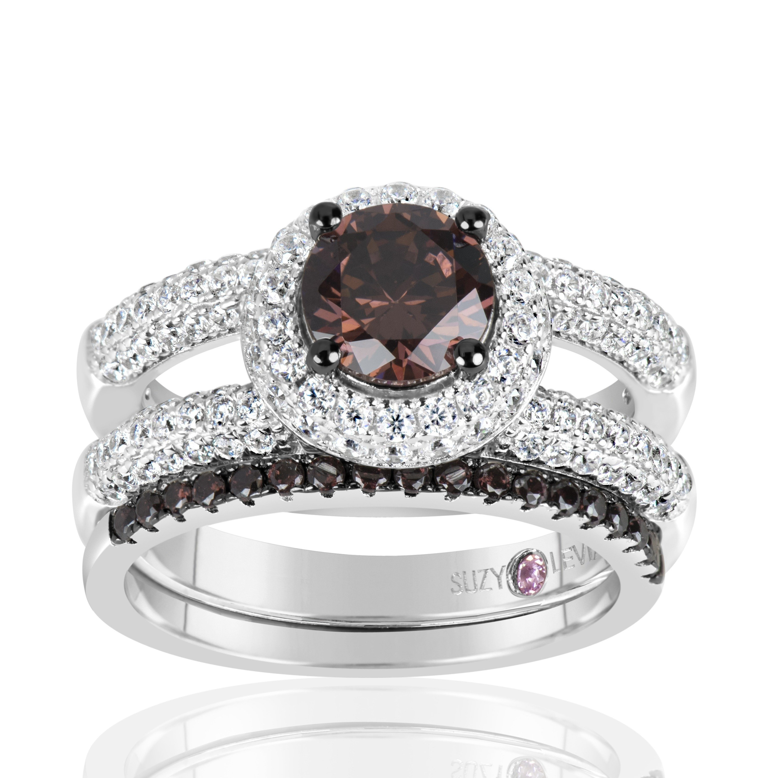 Suzy Levian  Sterling Silver Brown Chocolate and White Cu...