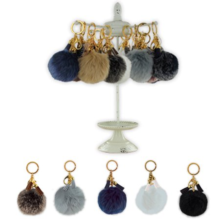 1 Fluffly Key Chain Ring Pom Pom Fur Faux Puff Balls Charm Handbag Tassel Hook