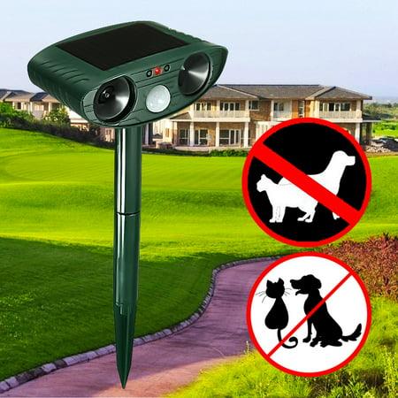 (Solar Ultrasonic Dog Cat Animal Repeller Outdoor ultrasonicanimalrepeller Yard Garden Scarer Repellent Deterrent)