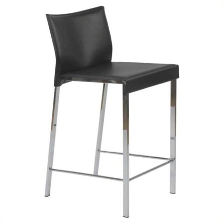 Sensational 24 Counter Stool In Black Leather And Chrome Set Of 2 Gmtry Best Dining Table And Chair Ideas Images Gmtryco