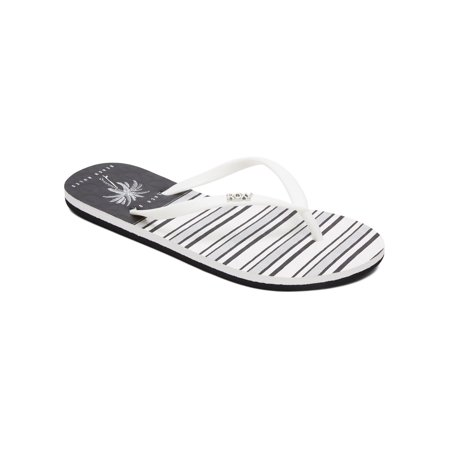 Roxy Womens Viva Stamp II Flip Flops Casual Sandals - Black/White