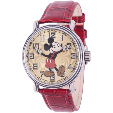 Mickey Mouse Men's Antique Silver Vintage Alloy Watch, Red Leather Strap